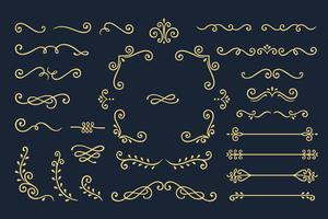 Verzameling van Vintage Ornament-elementen op zwarte achtergrond instellen