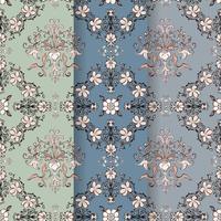 Vintage Flourish Muster Hintergrund Set