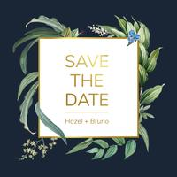 Diseño floral de la invitación de la boda