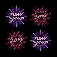 Ensemble de vecteurs de badge célébration nouvel an 2019