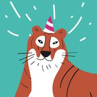 Cute cartoon tiger wearing a party hat vector graphics