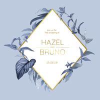 Bröllop inbjudningskort med blå löv design vektor