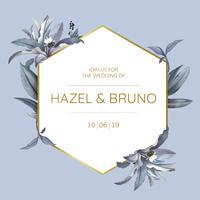 Carte d'invitation de mariage avec des feuilles bleues design vecteur