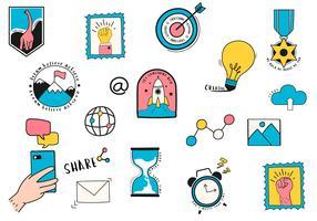 Hand getrokken set van digitale marketing symbolen illustratie
