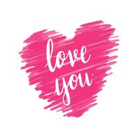 Love you typography vector in pink