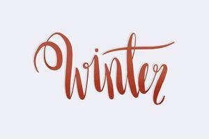 Vinter akvarell kalligrafi typografi vektor