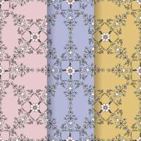 Conjunto de fondo de patrón de florecer vintage