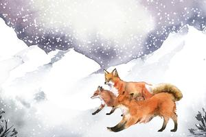 Hand-drawn foxes running in the snow watercolor style