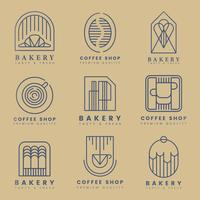 Kaffe och konditorivaror logo vektor uppsättning