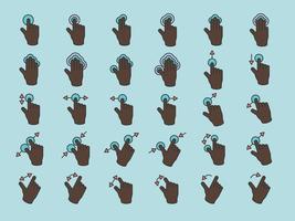 L'illustrazione delle mani dello schermo di tocco gesture nella linea sottile