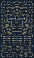 De inzamelingsreeks van bloeit de vectorillustratie van het ornamentetiket