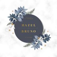 Floral wedding invitation card design vector