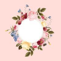 Illustrazione di carta cornice floreale bianco