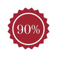 90 percent off badge vector
