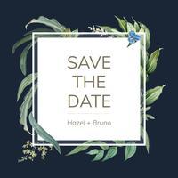 Bröllop inbjudningskort med gröna blad design vektor