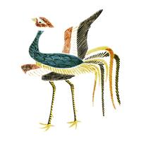 Vintage Illustration of Japanese crane