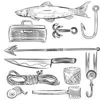 Illustrerad uppsättning fiskeutrustning