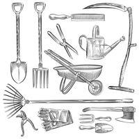 Illustration av en uppsättning trädgårdsredskap