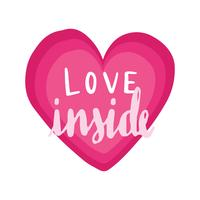 Love inside typography vector in a heart