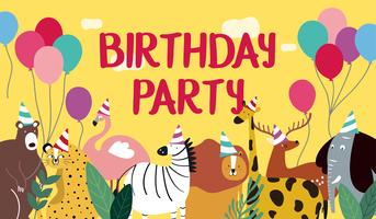 Animal theme happy birthday card vector