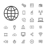 Illustration of digital devices technology icons set