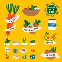 Satz des natürlichen und biologischen Lebensmittels wird Vektor deutlich