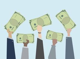 Pessoas negócio, segurando, dinheiro, ilustração