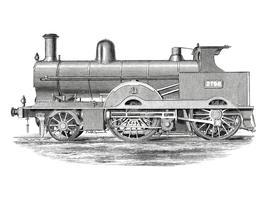 Locomotief (1891) door Francis William Webb (1836-1906), een prachtig gedetailleerd ontwerp van een motortrein en zijn compartimenten. Digitaal verbeterd door rawpixel.