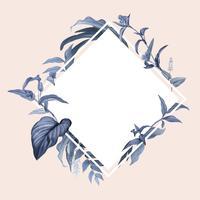 Marco vacío con vector de diseño de hojas azules