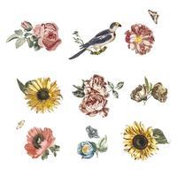 Ilustração Vintage de várias flores e um pássaro