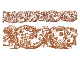Illustrazione d'epoca di un ornamento di foglia