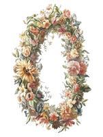 Vintage illustration of a flower wreath