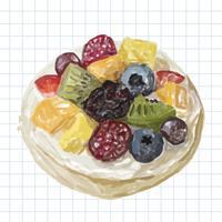 Estilo de aquarela de sobremesa desenhada de mão