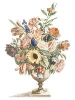 Ilustração Vintage de um vaso com flores