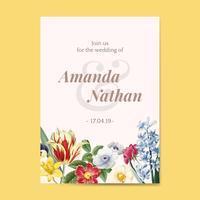 Plantilla de invitación floral