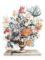 Vintage illustration of a stone vase with flowers