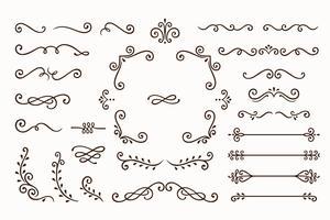 Impostare la raccolta di elementi di ornamento d'epoca su sfondo bianco