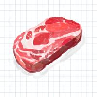 Hand drawn meat product watercolor style
