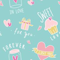 Love seamless mint green background vector