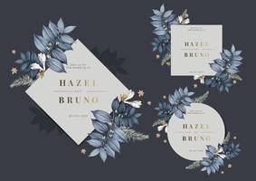 Ensemble de vecteurs de conception de cadre de mariage floral