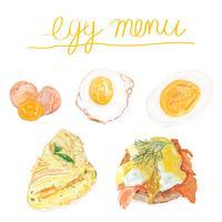 Handritad äggmeny akvarell stil
