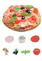 Dibujado a mano pizza italiana estilo acuarela