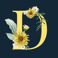 Lettera D con fiori