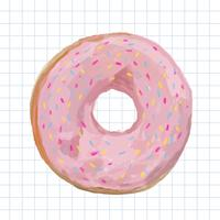 Dibujado a mano estilo acuarela donut