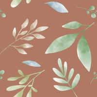 Vector de patrones de hoja verde acuarela