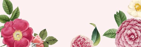 Espacio de copia de banner floral en blanco
