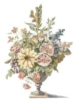 Vintage illustration of a vase with flowers