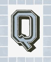 Capital letter Q vintage typography style