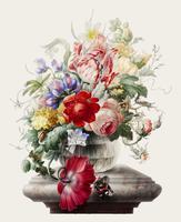 Weinleseillustration von Blumen in einem Glasvase