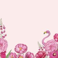 Quadro de flamingo rosa floral
